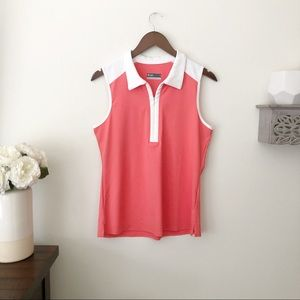 Lija golf polo tank top coral white size large NEW